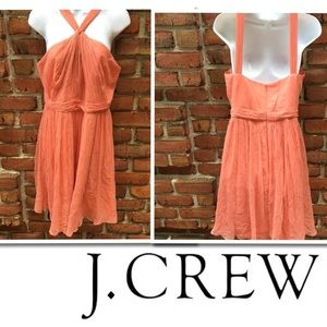 J.Crew Sinclair Coral Silk Chiffon Dress Size 10